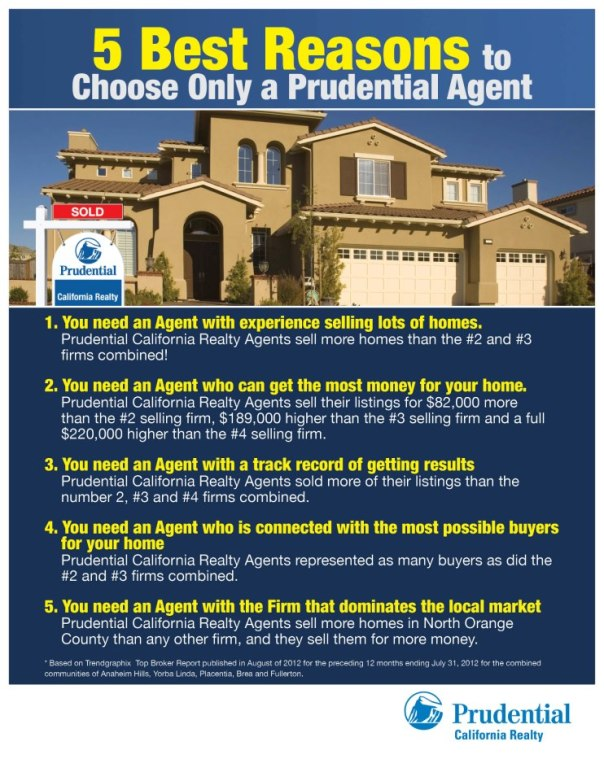 Best 5 reasons to list with a Pru Agent