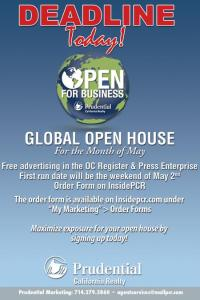 Global Open House Deadline today!  May 2